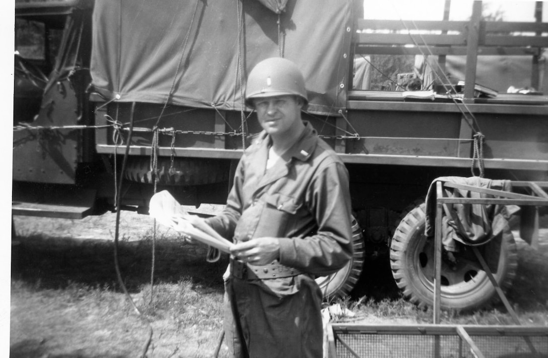 1951 Photo of Lt Hollyfield at deployed bivouac site at Cedars of Lebanon State Park, Lebanon, Tennessee in June 1951 while deployed to Seward AFB, Tennessee in late 1951.  The 118th ACW Sq was further deployed to Nouasseur AB, French Morocco, North Africa on Christmas Eve 1951 in support of the Korean War effort. (Photo by NCANG Heritage Program)