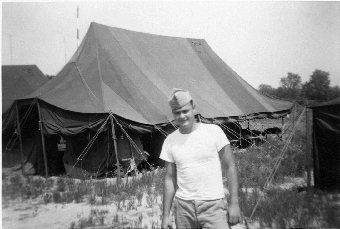 1951 Photo of Unknown individual at a bivouac location at Cedars of Lebanon State Park, Lebanon, Tennessee in June 1951 while deployed to Seward AFB, Tennessee in late 1951.  The 118th ACW Sq was further deployed to Nouasseur AB, French Morocco, North Africa on Christmas Eve 1951 in support of the Korean War effort. (Photo by NCANG Heritage Program)