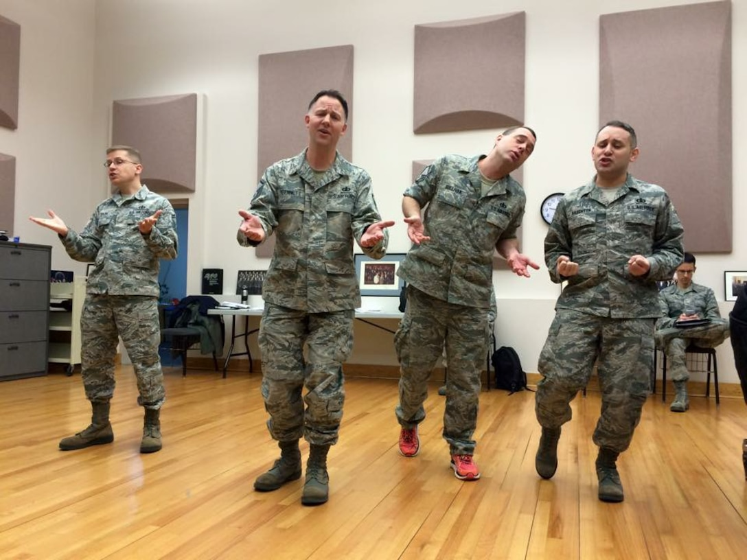 """The Singing Sergeants Men's Quartet rehearsed a selection from """"Forever Plaid"""" this week for our spring tour.  The group will perform at the American Choral Directors Association convention in Salt Lake City. (U.S. Air Force Photo/released)"""