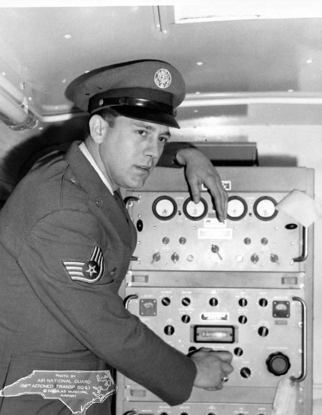 This person is believed to be SSgt Glen Trexler posing with communication equipment in van.  This photo was taken March 18th 1963 at the 263rd CBCS in Badin, NC.  (Photo by NCANG Heritage Program) Neg #B-340