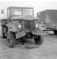 Convoy truck driven by Sam Ingram which was involved in an accident during return from 1959 263rd Comm Sq Field Training Site at Kickapoo State Park, Illinois. (Photo by NCANG Heritage Program)
