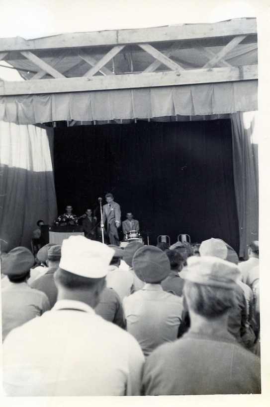 06 Jun 1952 USO Show featuring Danny Kaye at Nouasseur A. B. French Morocco while 118th ACW Sq was deployed to this base.  Story is that Danny Kaye received word that his mother died but elected to continue with the show. (Photo by NCANG Heritage Program)