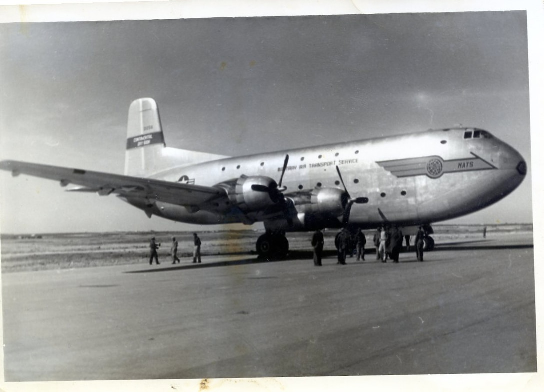05 Feb 1952 Photo; 1st C-124 to land at Nouasseur AB, French Morocco after the arrival of the 118th ACW Sq.  The 118th ACW Sq personnel, when deployed to this location, were transported by ship, the USNS Henry Gibbins (T-AP183). (Photo by NCANG Heritage Program)