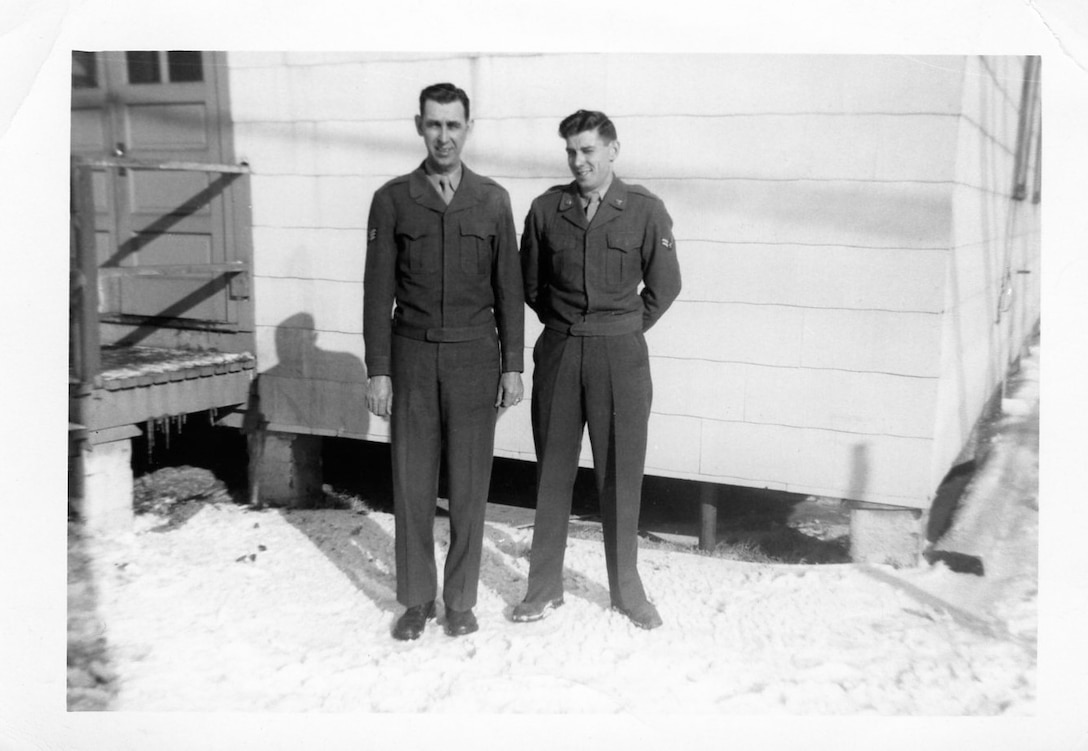 """1951 Photo of Left to Right, Carl V. """"Slim"""" Wilkerson and Norman Wright at Sewart AFB, Tennessee prior to deployment to North Africa in support of the Korean War effort.  (Photo by NCANG Heritage Program)"""