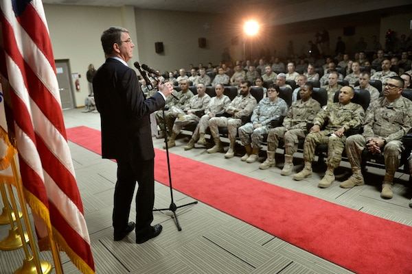U.S. Defense Secretary Ash Carter delivers remarks at a troop event on Camp Arifjan, Kuwait, Feb. 23, 2015. DoD photo by Glenn Fawcett