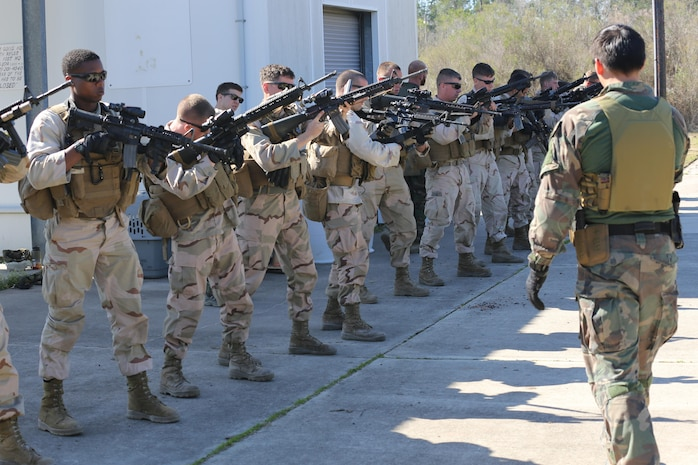 A Critical Skills Operator with 3rd Marine Special Operations Battalion, U.S. Marine Corps Forces Special Operations Command, teaches Marines with 2nd Combat Engineer Battalion, 2nd Marine Division, shooting techniques before firing M4 carbine rifles and M9 service pistols at a range here, Feb. 10, 2015. Marines with 3rd MSOB participated in RAVEN 15-03, a 10-day realistic military training exercise to enhance the battalion's readiness for worldwide support to global security. Marines with 2nd CEB played the role of a partner nation force during the exercise. (Official U.S. Marine Corps photo by GySgt. Josh Higgins/released)
