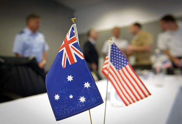 Gen. Martin E. Dempsey, chairman of the Joint Chiefs of Staff, and Australian Chief of the Defence Force, Air Chief Marshal Mark Binskin, meet with their staffs at Australian Navy base HMAS Watson in Sydney, Australia, Feb. 23, 2015.