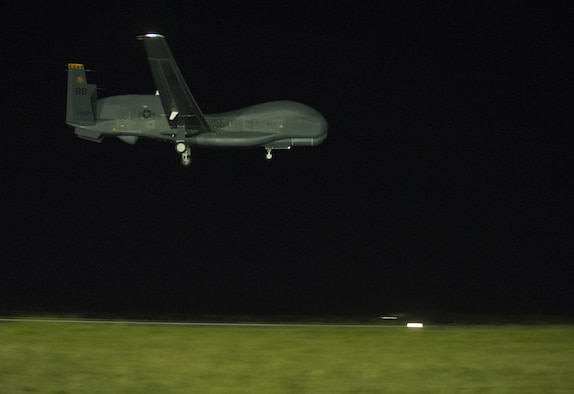 An U.S. Air Force RQ-4 Global Hawk prepares to land Feb. 21, 2015, at Avalon Airport in Victoria, Australia, marking the first historic landing in Australia in preparation for the 2015 Australian International Airshow and Aerospace & Defense Exposition. Approximately 100 U.S. personnel will showcase U.S. military aircraft, including the Air Force's F-22 Raptor, F-16 Fighting Falcon, RQ-4 Global Hawk, B-52 Stratofortress, and KC-135 Stratotanker, and the Navy's P-8A Poseidon at the airshow. (U.S. Air Force photo/Sheila deVera)