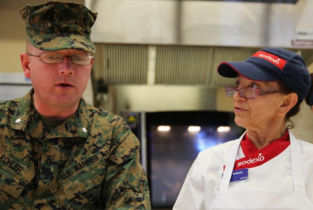 Lt. Col. Richard Kohler, director of food services for the Marine Corps, and Master Gunnery Sgt. Bryan Velloza, senior enlisted advisor for food services for the Marine Corps, were accompanied by Jack Kleckner, a representative of the National Restaurant Association, to evaluate the 22 Area Mess Hall for the Maj. Gen. William Pendleton Thompson Hill Award, Feb. 24. The W.P.T. Hill Award was established in 1985 to improve food service operation and recognize the best mess halls in the Marine Corps.