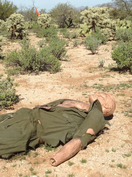 A mannequin representing an aircraft pilot lies in a cactus field during an aircraft crash exercise at Davis-Monthan Air Force Base, Ariz., Feb. 19, 2015. D-M emergency responders were expected to locate, secure and recover simulated casualties and other pertinent objects during the exercise. (U.S. Air Force photo by Airman 1st Class Chris Drzazgowski/Released)
