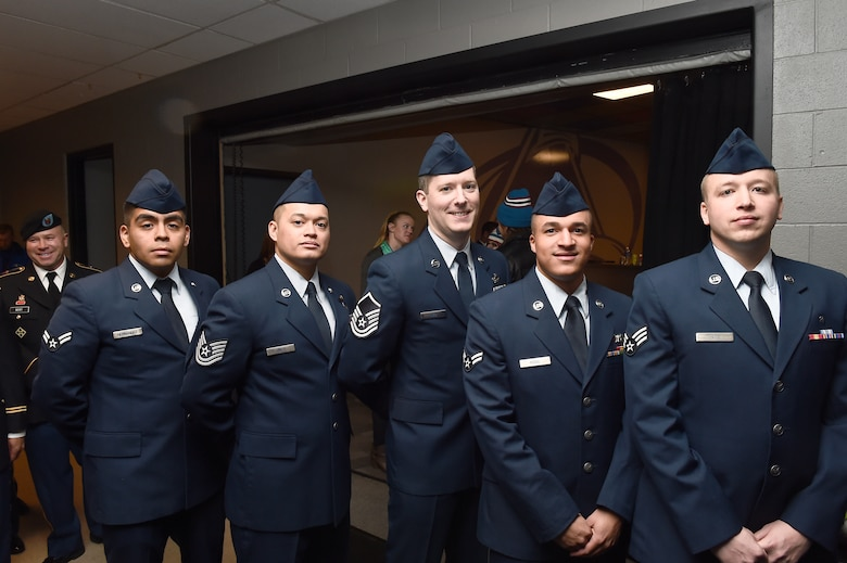 Team Buckley members participate in the opening ceremony of the Colorado Avalanche game Feb. 22, 2015, at the Pepsi Center in Denver. The Avalanche hosted a military appreciation night to honor military service men and women. (U.S. Air Force photo by Airman 1st Class Luke W. Nowakowski/Released)