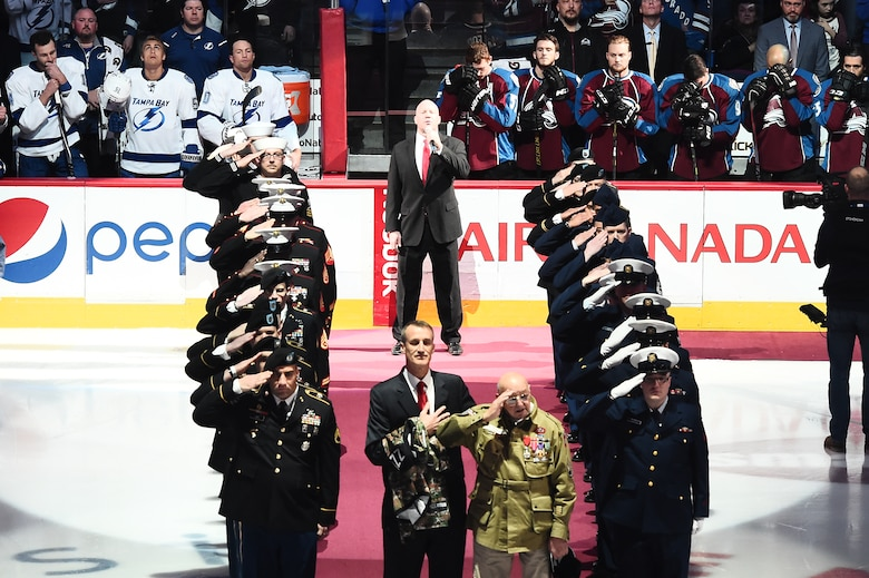 John Perozzi, a decorated World War II veteran, was honored during a Colorado Avalanche pre-game ceremony Feb. 22, 2015, at the Pepsi Center in Denver. The Colorado Avalanche held a military appreciation night in honor of service men and women. (U.S. Air Force photo by Airman 1st Class Luke W. Nowakowski/Released)