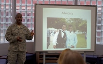 Maj. Jonathan Reid, the Air National Guard Risk Management program manager and division chief of Safety Analysis, speaks to a regional group of faculty and staff at St. Leonard Elementary School in St. Leonard, Maryland, on an achievement strategy for young black men February 2015. Reid, who is an active volunteer in his community, delivered remarks about the achievement gap between young black males and other populations and discussed possible solutions educators can take to act as an advocate. (Courtesy photo/RELEASED)