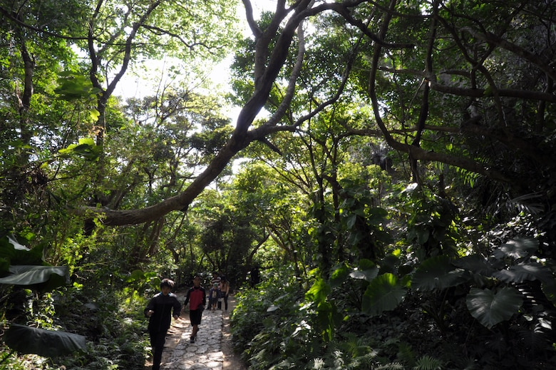 Tourists make their way up the path at Sefa-Utaki, a significant religious site on Okinawa, Japan, during a Feb. 21, 2015, visit. The site, about a one-hour drive from Kadena Air Base, offers a great day trip for those looking to explore the island. (U.S. Air Force photo by Tim Flack)
