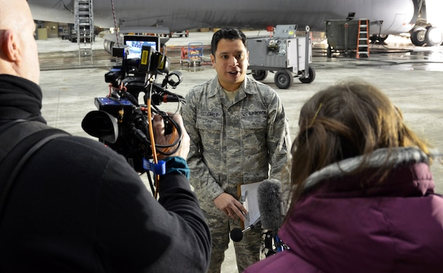 Staff Sgt. Jose Gutierrez, 439th Bioenvironmental Technician, responds to interview questions conducted by media representatives from Futures Magazine, Jan. 10, 2015. SSgt. Gutierrez was chosen to represent the Air Force Reserve in Futures magazine which features service members who go above and beyond the call and is distributed to high school guidance counselors to shed light on otherwise unknown military possibilities. (U.S. Air Force photo by Staff Sgt. Kelly Goonan)