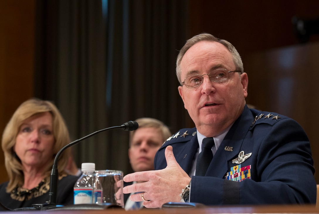 Air Force Chief of Staff Gen. Mark A. Welsh III answers a question about the fiscal year 2016 President's Budget request during a hearing of the Senate Appropriations Subcommittee on Defense Feb. 25, 2015, on Capitol Hill in Washington, D.C. (U.S. Air Force photo/Jim Varhegyi)