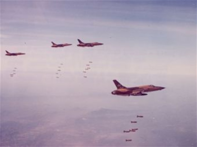 F-105 crews played a key role in Operation Rolling Thunder. During this three-year Vietnam War campaign, Air Force, Marine and Navy aircraft bombed targets throughout North Vietnam. U.S. and Australian warships complemented the air assault by bombarding coastal targets. (U.S. Air Force photo)