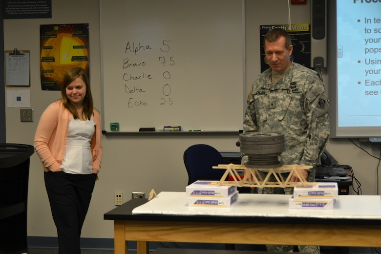 WINCHESTER, Va. - Middle East District structural engineer Elizabeth Prusch beams after Brig. Gen. Robert Carlson added the final weight to her bridge, for a grand total of 60 pounds. The students determined she must have used magic to make it so strong.