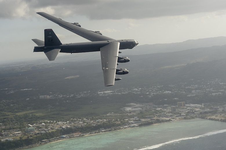 A B-52H Stratofortress flies during exercise Cope North 15, Feb. 17, 2015, off the coast of Guam. During the exercise, the U.S., Japan and Australia air forces worked on developing combat capabilities enhancing air superiority, electronic warfare, air interdiction, tactical airlift and aerial refueling. The B-52H is assigned to the 96th Expeditionary Bomb Squadron. (U.S. Air Force photo/Tech. Sgt. Jason Robertson)