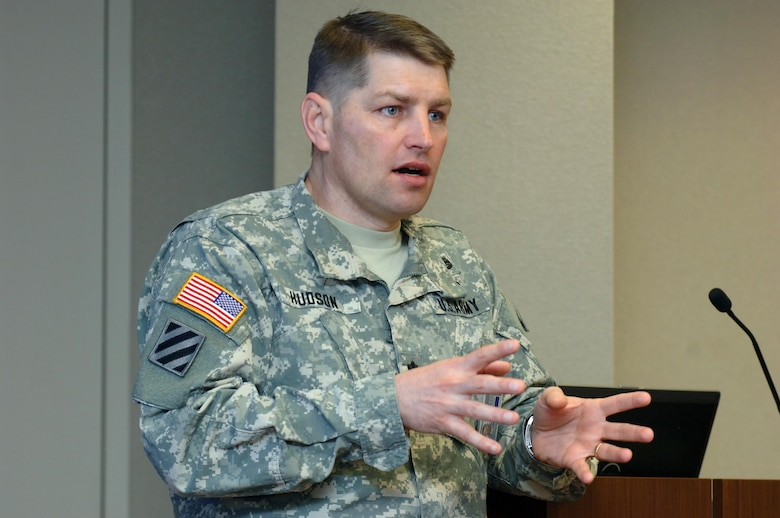 Lt. Col. John L. Hudson, U.S. Army Corps of Engineers Nashville District commander, speaks to participants of the Great Lakes and Ohio River Division's Regional Leadership Development Program at the Nashville District Headquarters in Nashville, Tenn., Feb. 25, 2015.