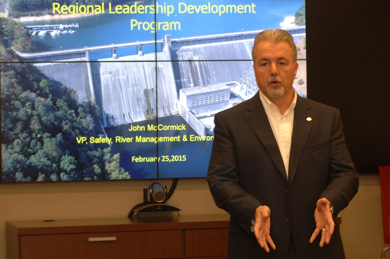 John McCormick, vice president of Safety, River Management and Environmental at Tennessee Valley Authority, shares his leadership perspectives to participants in the U.S. Army Corps of Engineers Great Lakes and Ohio River Division Regional Leadership Development Program participants at the Nashville District in Nashville, Tenn., Feb. 25, 2015.  He emphasized that leadership is about influencing people to do great things, and relationships determine results.