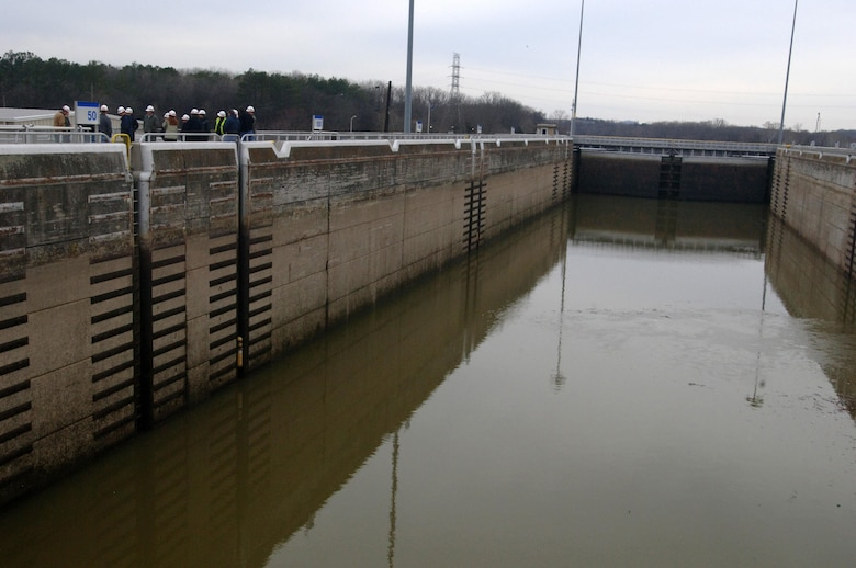 The group of participants in the U.S. Army Corps of Engineers Great Lakes and Ohio River Division's Regional Leadership Development Program begins a tour of Old Hickory Navigation Lock on the Cumberland River in Old Hickory, Tenn., Feb. 25, 2015. The project is operated by the Nashville District.