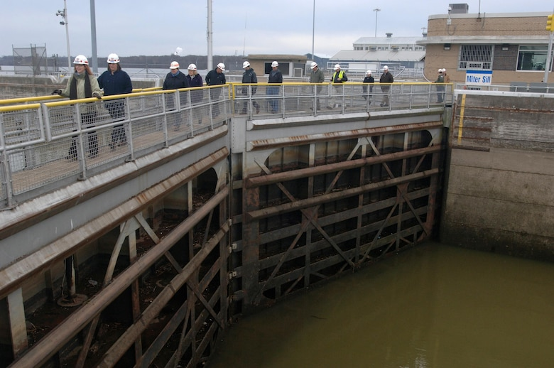 The group of participants in the U.S. Army Corps of Engineers Great Lakes and Ohio River Division's Regional Leadership Development Program tours Old Hickory Navigation Lock on the Cumberland River in Old Hickory, Tenn., Feb. 25, 2015. The project is operated by the Nashville District.