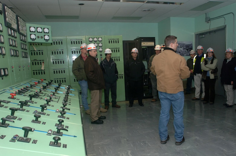 The group of participants in the U.S. Army Corps of Engineers Great Lakes and Ohio River Division's Regional Leadership Development Program tours the Old Hickory Hydropower Plant on the Cumberland River in Hendersonville, Tenn., Feb. 25, 2015. The project is operated by the Nashville District.