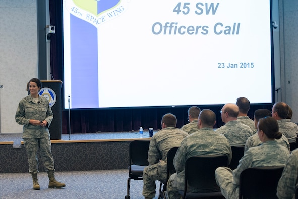 Brig. Gen. Nina Armagno speaks during an Officers Call Jan. 23, 2015 at Defense Equal Opportunity Management Institute Auditorium at Patrick Air Force Base, Fla. (U.S. Air Force photo/Matthew Jurgens)