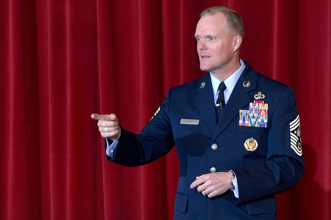 Chief Master Sgt. of the Air Force James Cody speaks to Airmen and cadets at Arnold Hall at the beginning of the 2015 National Character and Leadership Symposium Feb. 26, 2015. NCLS is an annual event held by the U.S. Air Force Academy. (U.S. Air Force photo/Jason Gutierrez)