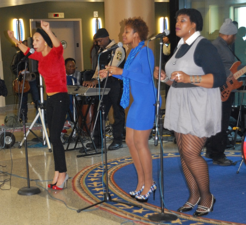 A cover band performs a variety of songs by Anita Baker and Toni Braxton at Walter Reed National Military Medical Center in Bethesda, Md., during the celebration of National African American History Month, Feb. 19, 2015. U.S. Army photo