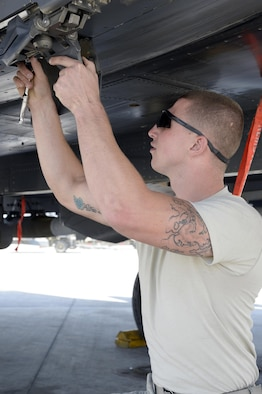 Senior Airman Michael, aircraft armament systems specialist, removes expended impulse cartridges during a post-flight inspection of an F-15E Strike Eagle at an undisclosed location in Southwest Asia Feb. 25, 2015. Since Jan. 31, 2015 there have been 8,194 weapons released by U.S. and coalition aircraft making it harder for Islamic State of Iraq and the Levant to sustain itself as a fighting force. Michael is currently deployed from Seymour Johnson Air Force Base, N.C., and is a native of Knoxville, Tenn. (U.S. Air Force photo/Tech. Sgt. Marie Brown)
