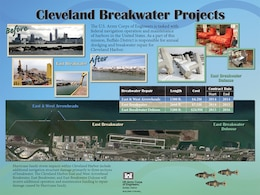 An overview of the $36.6 million breakwater repair underway at Cleveland Harobr, Cleveland, OH.