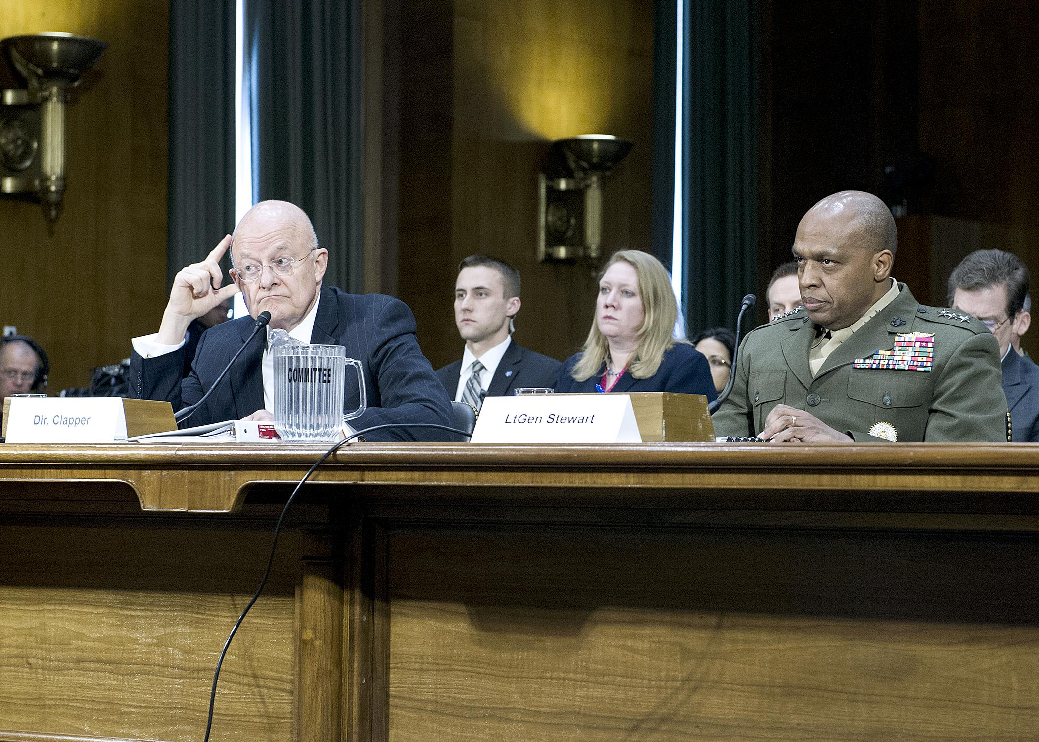 Director of National Intelligence James Clapper and DIA Director Lt. Gen. Vincent Stewart at the Senate Armed Services Committee Worldwide Threat Assessment Hearing on February 26, 2015.