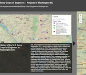 Locations of projects constructed by the US Army Corps of Engineers in Washington D.C.