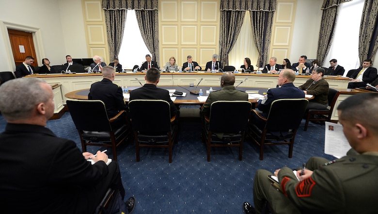 Chief Master Sgt. of the Air Force James A. Cody testifies before the House's Committee on Appropriations Subcommittee on Military Construction and Veterans Affairs in Washington, D.C., Feb. 25, 2015. As part of his testimony, Cody spoke about the challenge of last year's force reductions and the impact of fiscal uncertainty on the force while facing global demands and geopolitical realities. In addition to Cody, the other witnesses were Sgt. Maj. of the Army Daniel A. Dailey, Master Chief Petty Office of the Navy Michael D. Stephens, and Sgt. Maj. of the Marine Corps Ronald Green. (U.S. Air Force photo/Scott M. Ash)