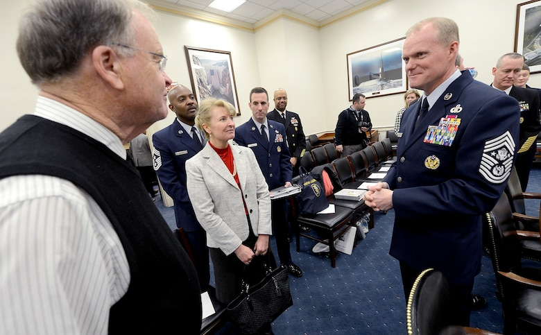 Chief Master Sgt. of the Air Force James A. Cody and his wife, Athena, meet with Rep. Samuel Sharon Farr, R-Ca., prior to the start of the House's Committee on Appropriations Subcommittee on Military Construction and Veterans Affairs Feb. 25, 2015, in Washington, D.C.  As part of his testimony, Cody spoke about the challenge of last year's force reductions and the impact of fiscal uncertainty on the force while facing global demands and geopolitical realities. In addition to Cody, the other witnesses were Sgt. Maj. of the Army Daniel A. Dailey, Master Chief Petty Office of the Navy Michael D. Stephens, and Sgt. Maj. of the Marine Corps Ronald Green. (U.S. Air Force photo/Scott M. Ash)