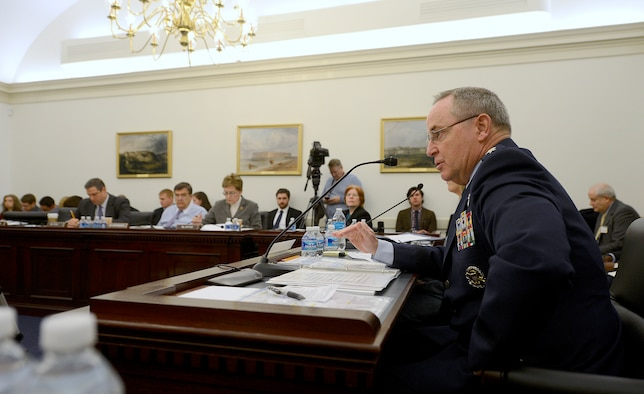 Air Force Chief of Staff Gen. Mark A. Welsh III testifies before the House of Representatives Committee on Appropriations' Defense Subcommittee, Feb. 27, 2015, in Washington. D.C. Welsh and Secretary of the Air Force Deborah Lee James met with the House members to discuss the Air Force's Fiscal Year 2016 President's Budget Request. (U.S. Air Force photo/Scott M. Ash)