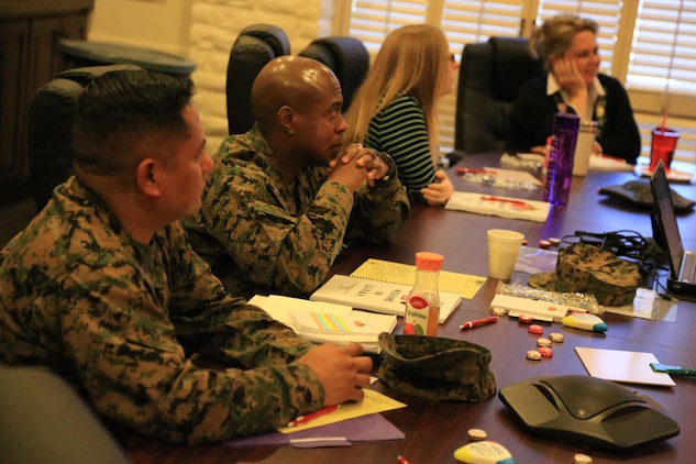 Service members and spouses sit in a Lifestyle, Insights, Networking, Knowledge & Skills class at Camp Pendleton on Feb. 26.    L.I.N.K.S. is a Marine Corps Community Services program designed to enhance the readiness of Marine Corps families by providing resources that can help enhance their education and personal growth.