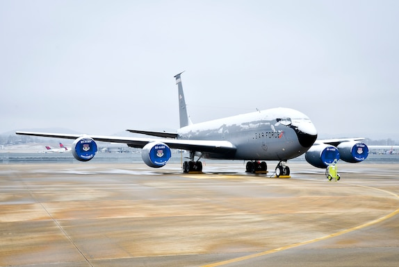 KC-135R Stratotankers parked on the flight line at the 117th Air Refuelling Wing, Birmingham, Alabama are covered in a blanket of snow as a rare winter storm pushes through north and central Alabama. (U.S. Air National Guard photo by: Senior Master Sgt. Ken Johnson/Released)