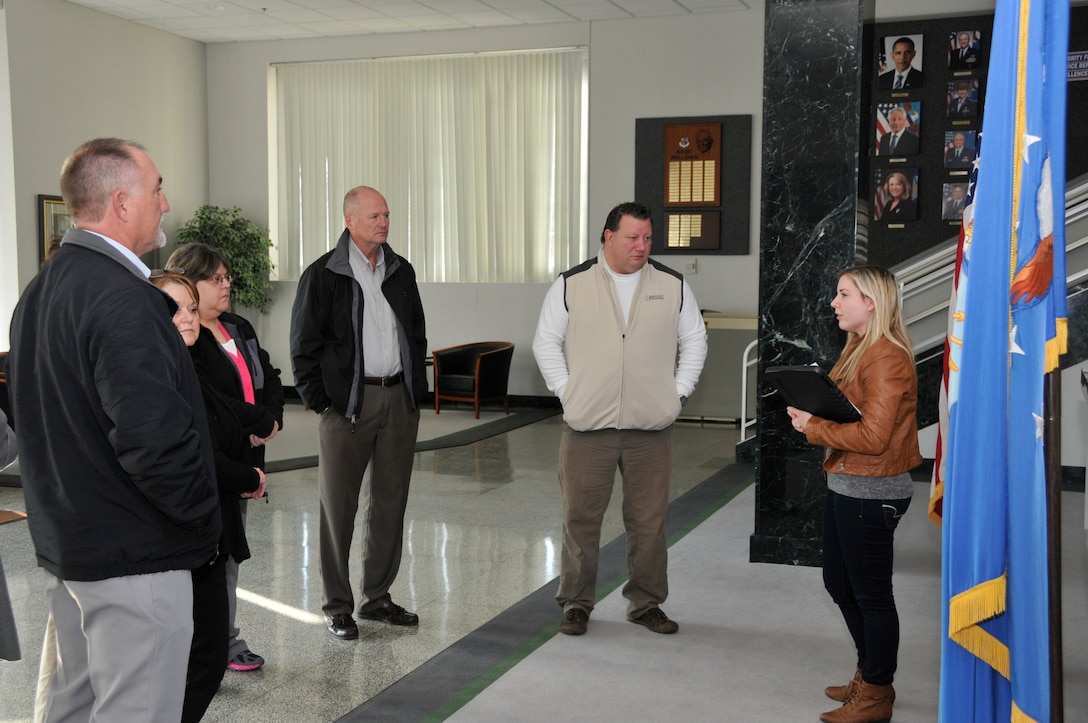 Members of the Manchester Chamber of Commerce recently visited AEDC to learn about the unique capabilities of the test facilities on base, as well as the local impact of the Complex. Pictured right is Deidre Ortiz, ATA Public Affairs, preparing the group for a tour of the base. (Photo by Jacqueline Cowan)