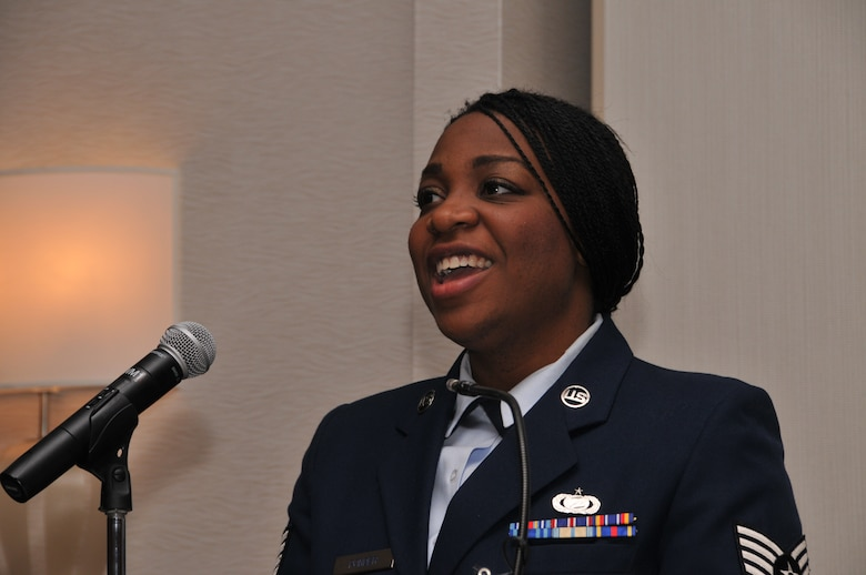 """U.S. Air Force Staff Sgt. Michaela Diallo provides musical entertainment at the 171st Air Refueling Wing's 32nd annual African-American Heritage Luncheon, Friday, Feb. 27, 2015, at the Pittsburgh Airport Marriott in Coraopolis, Pa. The event allowed the 171st ARW to celebrate """"A Century of Black Life, History, and Culture"""" with the local community during African-American History Month. (U.S. Air National Guard photo by Airman 1st Class Allyson L Manners/ Released)"""