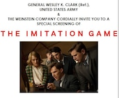 "Gen. Wesley K. Clark's (Ret.) screening invitation to ""The Imitation Game."""