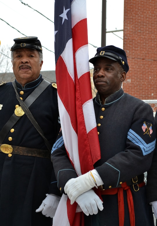 Civil War-era re-enactors of the 3rd Infantry Regiment U. S. Colored Troops, paid honors to the 1871 fallen Pa. National Guardsman, Maj. Octavius V. Catto, during the 20th Annual Octavius V. Catto Memorial Wreath Laying Ceremony held Feb. 21, 2015 at 6th and Lombard Streets in Philadelphia. Catto recruited African-American soldiers during the Gettysburg Emergency in the Civil War (U.S. Air National Guard photo by Master Sgt. Christopher Botzum/Released)