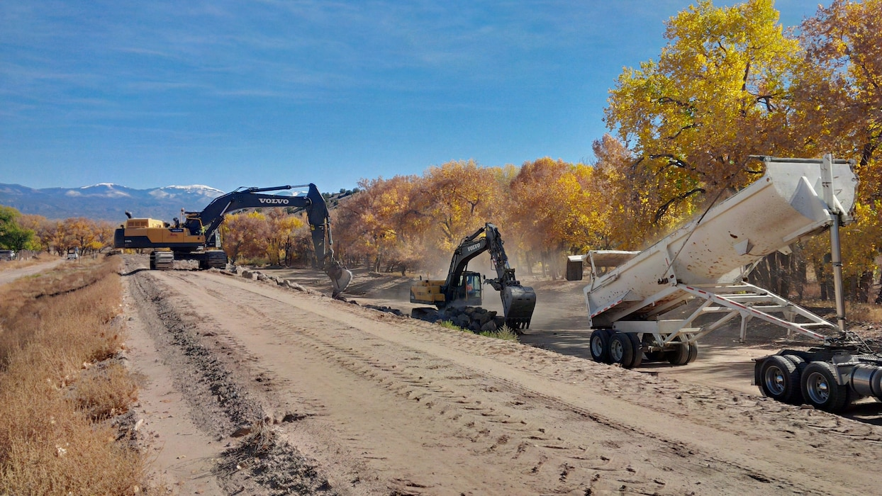 """Construction is aimed at mitigating threats from the 2014 summer monsoons at Santa Clara Pueblo.""  Photo by Erin Larivee, Nov. 5, 2014. Click below to read more about the District's work with Santa Clara Pueblo."