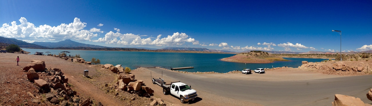 """Panoramic view of the boat ramp at Abiquiu Lake on National Public Lands Day."" Photo by Erica Quinn, Sept. 27, 2014."