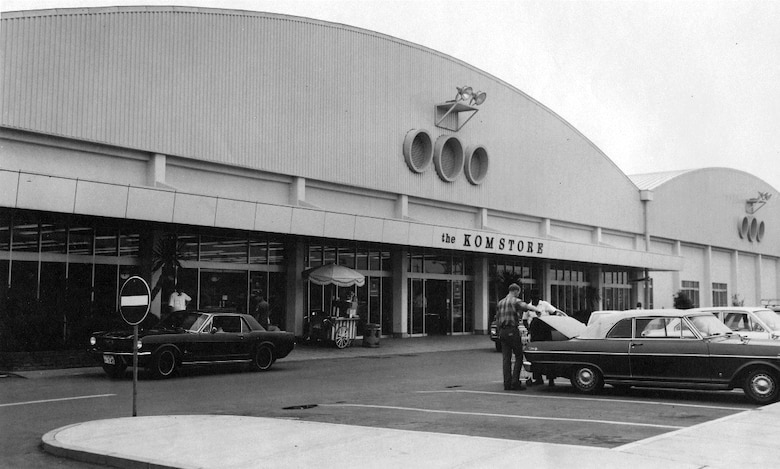 A 1970s photo of Yokota's BXtra building with its unmistakable portholes.