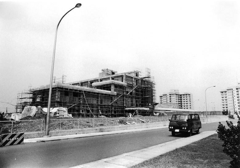 A 1975 view of the Yokota hospital still under construction. All Yokota