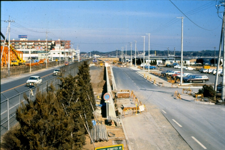 A 1980s photo of northwest Yokota along Route 16 when that busy road was