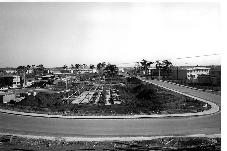 An early 1973 view of Yokota's east side garden unit housing area during